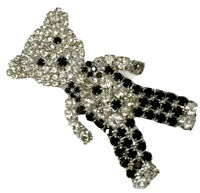Vintage Silver Tone Large Paste Sparkly & Black Teddy Bear Brooch GIFT BOXED