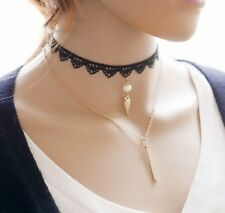 Women Fashion Lace Bar Triangle Simple Jewelry Short Chain Pendant Necklace AJ