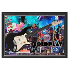 COLDPLAY HAND SIGNED FRAMED FULL SIZE GUITAR MARTIN BERRYMAN CHAMPION BUCKLAND