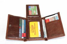 Vintage Echt Leder Braun Geldbörse Portemonnaie Genuine Leather Brown Wallet 206