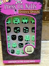 Halloween Kids Press On Nails - Glow in the Dark Ghouls Ghosts