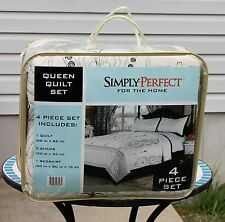 Queen Quilt Set New Quilted Comforter Sham Bedskirt Bed White Black Embroidered