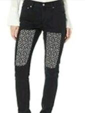 Ckj 021 Jeans slim Woman mid rise 30x30 black patch fabric flowers floral nwt