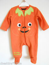 NUTMEG Halloween Pumpkin Fleece Onesie - Age 0-3 Months BNWT