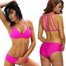 Hot FUCHSIA Pink BOYLEG Bikini STRAPPY Back PADDED Top SWIMWEAR Bathers Sz 8