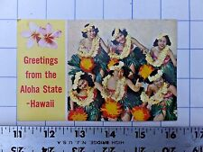 1970 postcard - Greetings from the Aloha State - Hawaii with hula dancers.