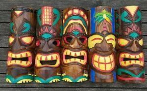 Tiki mask wood carving Hand carved & painted wall hanging wooden ornament 30cm