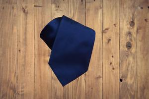Ermenegildo Zegna Solid Midnight Navy Blue Satin Silk Tie NWT $205