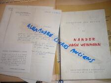 Nandor VAGH-WEINMANN (1897) DOCUMENTS  MANUSCRITS TAPUSCRITS IMPRIMES
