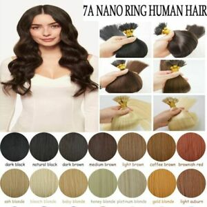 """14""""-24"""" 1g 7A* Nano Ring Tip Bead Double Drawn HALO Remy Human Hair Extensions"""