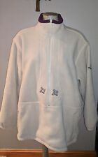 LL BEAN LADIES PULL OVER ZIP FRONT FLEECE IVORY EMBROIDERED L LINED JACKET USA