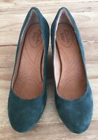 CLARKS Indigo Womens Green Suede Leather Wedge Heels  Size 9.5 M  #64534