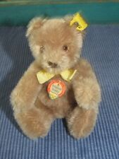 "Vintage Steiff Original Teddy Bear With Pale Gold Bow 6"" Inches Tall MINT"
