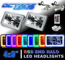 "4X6"" IR Color Change RGB SMD Halo Angel Eye Headlight 24W 6K LED Light Bulb Pair"