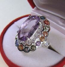 11.3 CTW PINK AMETHYST &  FANCY SAPPHIRE RING sz 7.5  WHITE GOLD over 925 SILVER