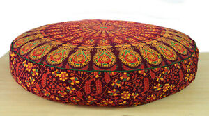 """Pillow Cover Pouf Meditation Cover Indian Cotton 35"""" Large Round Floor Cushion"""
