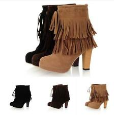 Women Fringe High Block Heels Platform Ankle Short Boots Tassel Casual Shoes New
