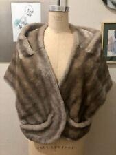 Vintage 50'S Lovely! Tan Taupe Faux Fur Stole Wrap Scarf Capelet Bolero