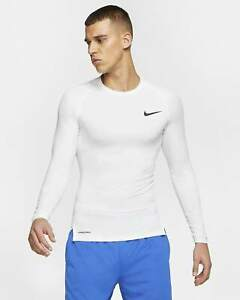 Nike Pro Men's Tight Fit Long-Sleeve Top (White) Size Large-Tall
