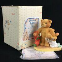 Enesco Cherished Teddies Figurine Jacob Bear With Stocking 950734 Christmas 1992