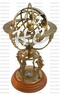 "18"" Brass Vintage Style Armillary Globe With Compass Nautical Sphere Engraved"