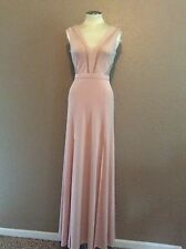 New BCBGMAXAZRIA Long Formal Sleeveless Gown Lace Cutouts Light Pink Blush 6 NWT