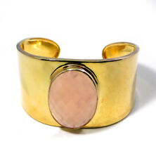 Rose Quartz 1/2 Micron Gold Plated Cuff Bracelet 925 Sterling Silver 45 g M3B140