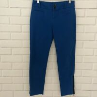 Anthropologie Cartonnier Blue Ankle Zip Charlie Trouser Pants Size 0 Stretch