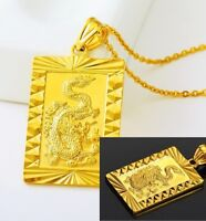 "24k Yellow Gold Dragon Pendant With 24"" Chain Link Necklace + GiftPKG D451"