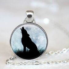 Glass Chain Pendant Necklace Jewelry New Wolf Cabochon Tibetan silver