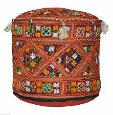 "14X18"" Indian Khambadiya Patchwork Ottoman Pouf Moroccan Seat Footstool Cover"