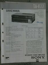 Sony ta v77 Service Manual schematic stereo amplifier amp Original repair book