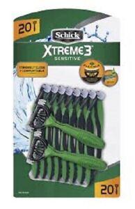 Schick Xtreme 3 Sensitive Disposable Razor, 20 Count (Unboxed)