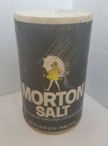 Vintage Morton Salt Cardboard Dispenser Container 150 years Girl In Yellow Dress