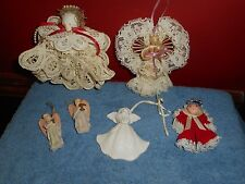 ANGEL CHRISTMAS ORNAMENTS LOT 2 HANDMADE LACE & CORNHUSK 1 PORCELAIN 2 RESI
