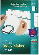 Avery 8 Tab Mini Binder Dividers 55 X 85 Easy Print Amp Apply Clear Label St