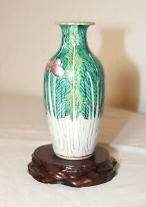 antique early 19th century Chinese hand enameled porcelain cabbage vase wax seal