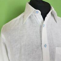 Sanfort Mens Lightweight Cotton Shirt White Summer Holiday Size Medium Button Up