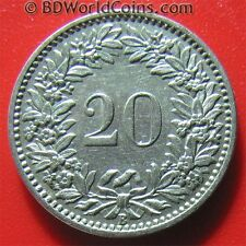 SWITZERLAND 1903-B 20 RAPPEN XF SWISS COLLECTABLE WORLD COIN NICKEL 21mm KM#29