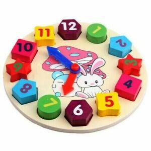 Wood Kids Clock Toy Learning Blocks PreK Building Educational 3D Shapes Colors