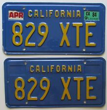 California 1984 License Plate PAIR - NICE QUALITY # 829 XTE