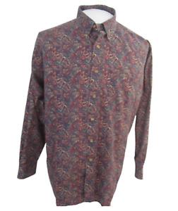 Roundtree & Yorke Men Dress Shirt long sleeve paisley sz L cotton purple green