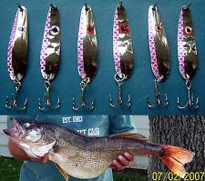 (6) Silver Purple Flash Trolling Flutter Spoons Lake Erie Walleye Candy