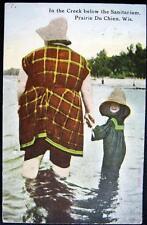 PRAIRIE DU CHIEN WI ~ 1912 MOM & GIRL WALKING IN THE CREEK BELOW THE SANITARIUM