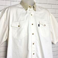Roper Men's Cream Short Sleeve Western Shirt Large Button Down Tan Collar