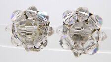 VTG Clear AB Demi Parure Crystal Silver Toned Cluster Flower Clip Earrings