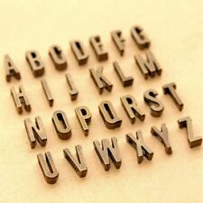 26 Alphabet Letters set-2 sides-antique brass charm beads,big flat hole metal be