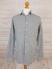 Asos Men's White + Black Long Sleeve Button Down Cotton Check Shirt UK M