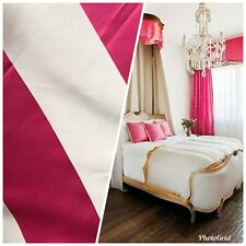 "60"" Wide- Designer Satin Drapery Fabric - 6"" Fuchsia Pink And White Stripes"