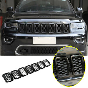 For 2017-2021 Jeep Compass Black ABS Front Grille Insert Mesh Ring Trim Cover 7P